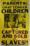 Unattended Children - Newspaper front page of unattended children sold a slaves