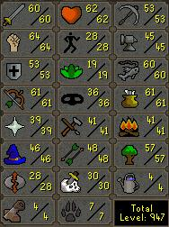 My skills - This is my stats on runescape. Screenshot taken 19 april.