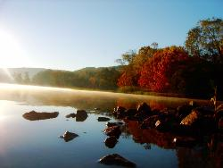 Misty Fall Morning - Early morning sun and bright fall colors of Lake Guntersville, AL