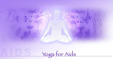 Aids and yoga - Shows that AIDS can be cured by yoga itself,person is sitting in yogasan and wave in the sphear shape going around. blue colour is showing the peace through yoga.