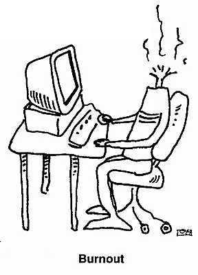 computer health hazard - the cartoon shows a man sitting at a computer with his head burnt away. This represents the 'burnout' one experiences after many stressful hours in front of a comoputer doing work or other things. Burnout is just when you become tired from too much work.