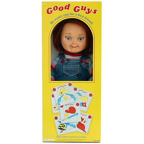 "Good Guy Doll - A photo of the ""good guy"" doll in it's box. This is not of the original doll but of a reproduction which was recently released for purchase."