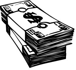 Money - A black and white money clipart. / myLot
