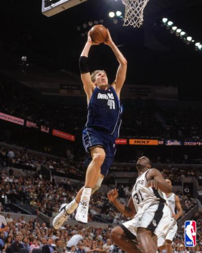 Dirk dunk - Dirk Nowitzki of the Dallas Mavericks goes sky high for a tomahawk dunk.
