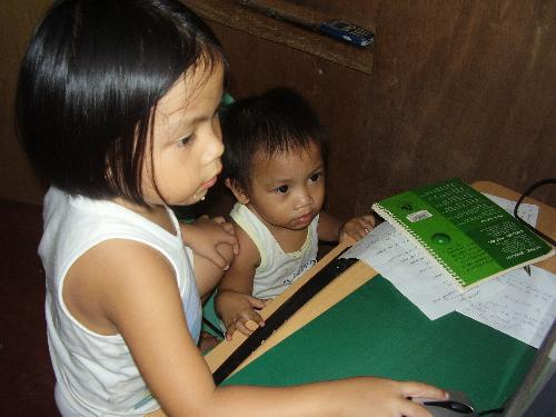 baby sitting - my niece and her younger brother learning together