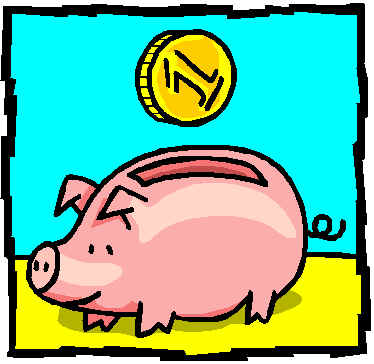 Piggy Bank to save money - A cartoon of a piggy bank with a coin being put in it to save money.