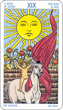 Tarot card drawing - A drawing of the Sun card of the Tarot deck.