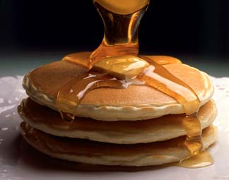 Ricotta Pancakes - Ricotta pancakes with maple syrup
