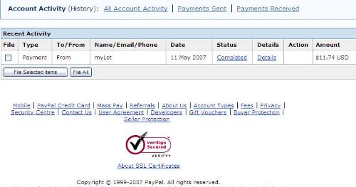 myLot paid me! - A picture of the payment from myLot in my PayPal account.