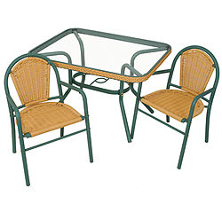 Wicker Patio Table and Two Chair Set - Cute, Wicker Patio Table and Two Chair Set.