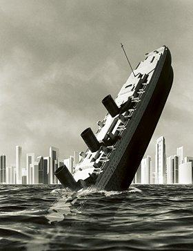 a ship sinking - the picture says it all