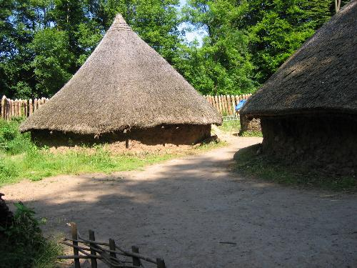 Celtic Village from Iron Age. - Round houses built of mud, stone and straw.