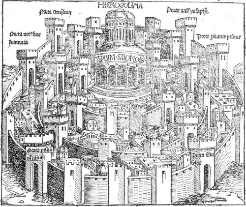 Solomon's Temple - An illustration of the temple Solomon built, standing in the middle of the city of Jerusalem