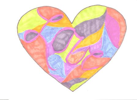 Share the love - Colorful heart with love enclosed in the design
