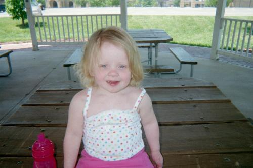 The contest photo - This is my 2 year old.....Isabella. At the gazebo by our church.