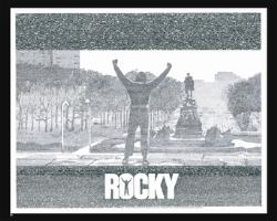 ROCKY - THE PHOTO IS MADE UP ENTIRELY OF WORDS AND DIALOGUES SAID IN THE ROCKY SERIES..IT IS AMAZING..YOU HAVE TO SEE THE IMAGE IN FULL SIZE AND YOU CAN ACTUALLY READ EACH AND EVERY WORD..