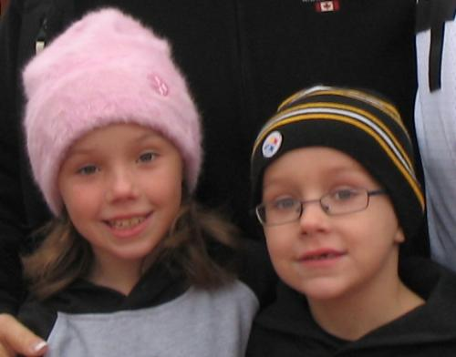 My 2 kids....love them to death - My 2 kids taken on a freezing day in Pittsburgh just before a Steelers game