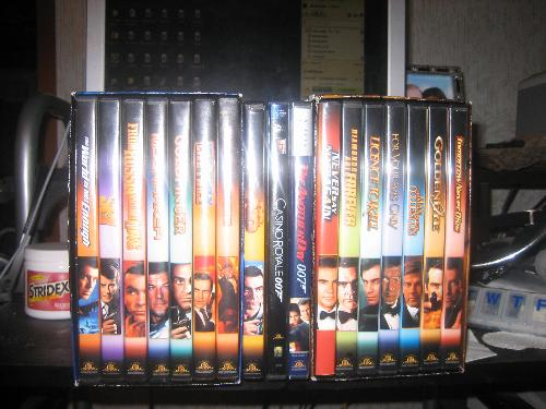 James Bonds  - My collections:) James Bond is the best among the best..I love all his movies..I will try to have it all hahahaha  this is my list DVD i have:) 1.Dr.NO 2.The living daylights 3.You only live twice 4.Gold finger 5.Moonraker 6.From russia with love 7.The spy who loved me 8.The world is not enough 9.Tomorrow never dies 10.Golden eye 11.For your eyes only 12.Licence to kill 13.Diamonds are forever 14.Never say Never again 15.Die another Day 16.Night fire 17.the latest-Casino royale this my collections..I loved james bond. -thanks everyone-