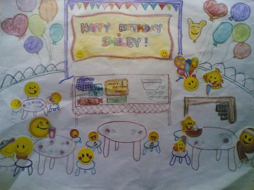 smileys birthday party - share your smile with this another work of art from my kids