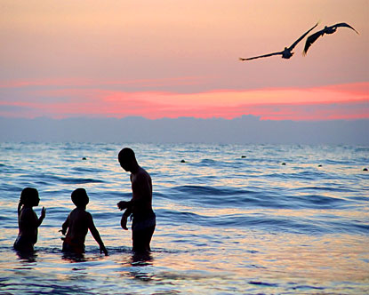 On a vacation... - Sea beaches are most common vacation spots...