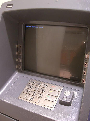 Do you COVER your fingers when keying your PIN? - A picture of an Automated Teller Machine a.k.a. ATM. Taken with permission from http://farm1.static.flickr.com/125/389030408_8bff4d8ced.jpg?v=0 .