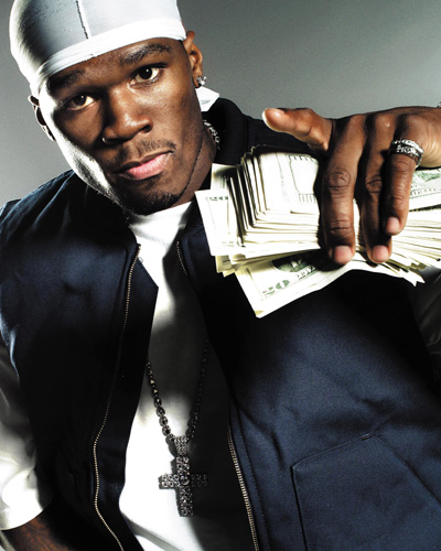 50 cent and money - money in his hand