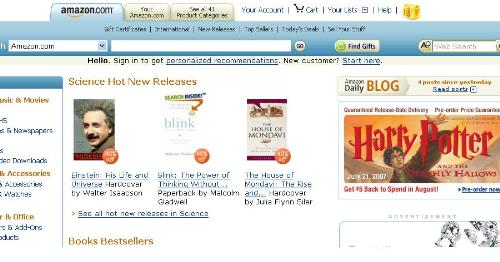 amazon site - this is a short view of the site