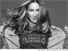 Sarah Jessica Parker - SJP is wearing a shirt that says, Fashion is not a luxary.