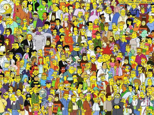 The Simpsons picture - A picture of all the people on the simpsons