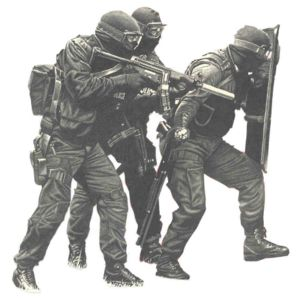 Similar to the SWAT team that raided the neighbor' - A bit scary to see these guys with all their weapons drawn standing 15 ft. from your house.