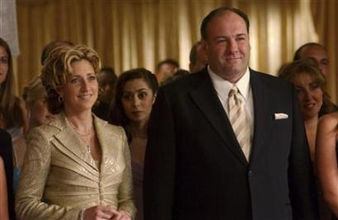 Edie Falco and James Gandolfini from The Sopranos - Actors from the HBO series, The Sopranos