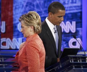 Hillary v/s Obama - Democratic candidates Hillary Clinton and Obama seen during the debate last week