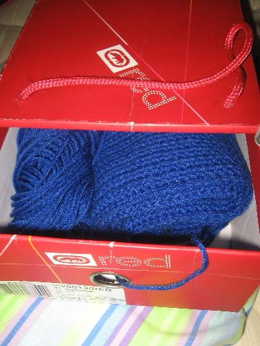 Crochet in shoe box - A picture of my crochet project in the slide out shoe box