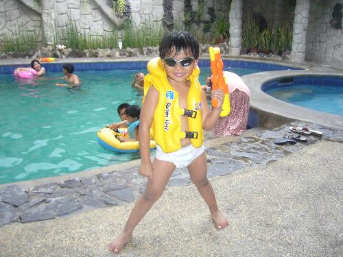 my son in swimming gear - we had so much fun on this swimming adventure!