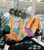Dumbbell chest press - This is great for those of us who need to firm up our chest.