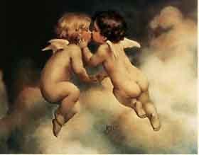 girl and boy - boy angel kissing girl angel