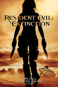 Residen Evil Extinction - the novelization of this film was released in late july 2007, almost two months before the film's theatrical released. in the novelization, the characters jill valintine and angela ashford appear, despite reports saying they willnot appearin the film. the primary antagonists are dr.sam isaacs and albert wesker, as well as a horde of zombies. also being introduce is a new artificial inteligence villain the white queen similar to the red queen in the first film the white queen is improved extinctionof the red queen, with refined AI