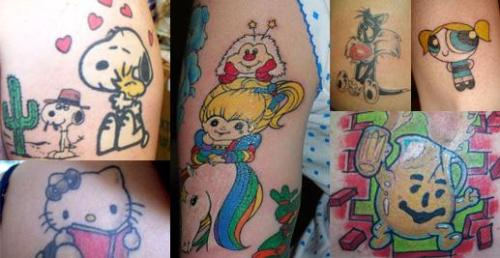 tattoos - this pic of people has different kinds of tattoos.