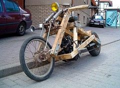 poor man chopper  - made of wood and coil spring