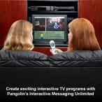 TV images - See the image.Two people are viewing the tv and enjoying themselves