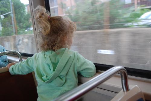 Courtney on the Subway  - Courtney's first subway ride--looking out the window!