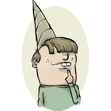 mentally drained individual - person wearing a dunce cap