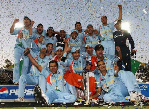 Inaugral world cup winners - Jubiliant Team India after the victory over Pakistan