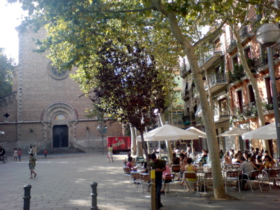 A quiet square in Gracia, Barcelona - A quiet afternoon in a peaceful square in Gracia, Barcelona.