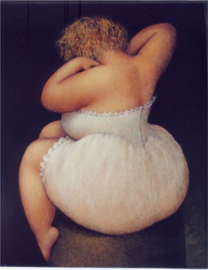 Curves make the world go 'round! - A painting of a full figured woman