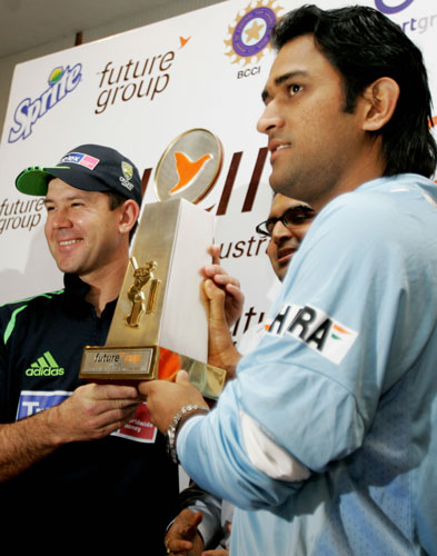 India Australia Series!!!!! - India captain Mahendra Singh Dhoni and his Australian counterpart Ricky Ponting unveiled the 'Future Cup', the symbol of supremacy in the seven-match One-Day International series, beginning in Bangalore on Saturday.  Future Retail CEO Rakesh Biyani and Karnataka State Cricket Association president Srikantadatta Narasimharaja Wadiyar were among those present at the unveiling function in Bangalore on Friday.  The Future Group has the title rights for the series and will be associated with the development, branding and promotion it.  Kochi will host the second ODI on October 2, followed by Hyderabad (Oct 5), Chandigarh (Oct 8), Vadodara (Oct 11), Nagpur (Oct 14) and Mumbai (Oct 17).  Australia, which regained its number one ranking from South Africa during the ICC World Cup in the West Indies, could drop as low as third in the LG ICC ODI table if recently-crowned World Twenty20 champions India sweep the series.  If that happens, India, currently on 108 points, could gain 10 points to 118 and in the process leapfrog Australia, New Zealand, Sri Lanka and Pakistan to second, with Australia dropping from 129 to 116.  A 6-1 or 5-2 series victory for Dhoni in his first series as India's ODI captain would mean Australia losing top position to South Africa while India would move to third place in a congested table in which just nine ratings points separate third and seventh positions.  A 4-3 win would lift India to fifth while Australia would be left on the same mark as South Africa, 124 points, but would retain top spot when the ratings are calculated to three decimal places.  However, the other side of the story is that if Australia sweeps the series, India will fall as low as seventh. A 6-1 or 5-2 series win for Australia would result in India maintaining sixth place with Australia extending its advantage over South Africa.