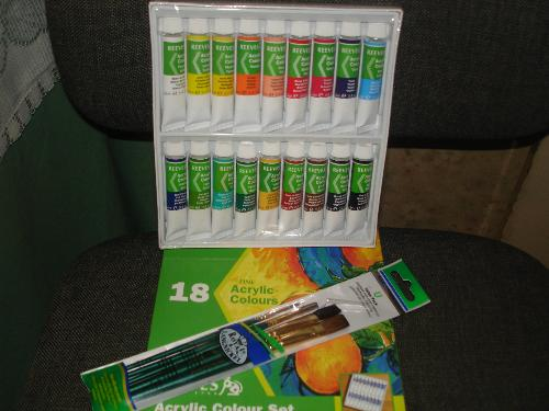 Acrylic Paints And Brushes - The acrylic paints and brushes I bought with vouchers given for my birthday.