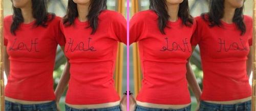love hate  - cool T-shirt