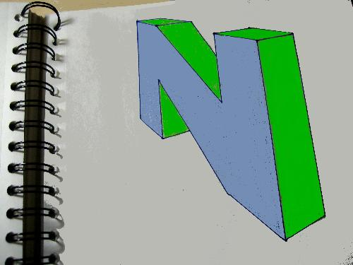 "The Letter ""N"" Drawn in Perspective - Since I only had a few minutes, I did not have time to draw a cartoon today, so I just drew the letter ""N"" for no particular reason."