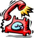 ringing phone - a red ringing phone